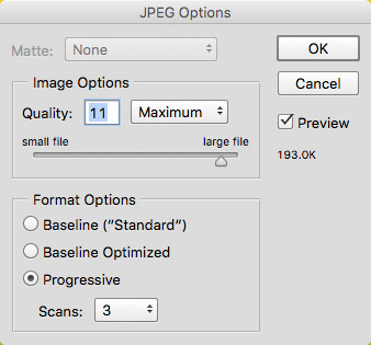 Photoshop's default Save As dialog for a JPEG - creates a 193Kb image